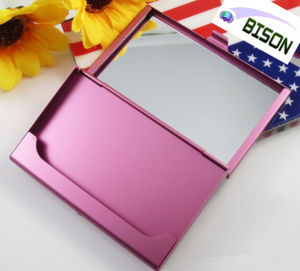 China Multifunctional Aluminum Business Card Holder With Mirror