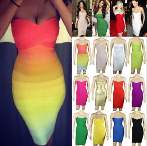 2015 Rainbow Women Fashion Design Sleeveless Bodycon Bandage Dress (R121)