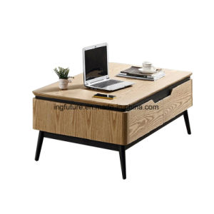 Nodic Natural Oak Wood Coffee Table with 4 Drawers