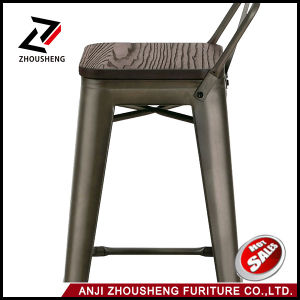 2016 New Adeco 30 Inch Industrial Chic Metal Barstool with Solid Wooden Seat and Low Back pictures & photos