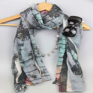 Digital Printing Coconut Tree Woven Scarf for Women Fashion Accessory Spring Shawls