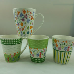 Flower Decals Ceramic Coffee Mugs for Gifts Promotional (JSD-ZV-03)