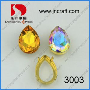Dz-3003 Light Topaz and Ab Pear Drop Fancy Stone with Claw pictures & photos