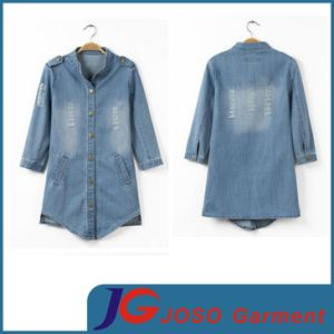 Half Short Sleeves Women Long Buttonjean Blue Coat (JC4104) pictures & photos