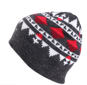 Hot Sale Good Quality Colorful Pattern Gary Knitted Beanie Hat pictures & photos