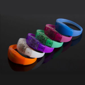 Festival Gift Voice Vibration Activated Sound Control LED Flalsh Bracelet Wristband pictures & photos