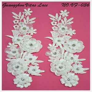 White Rayon Beading and Corded Lace Motif for Lady Dress From Factory Vf-036