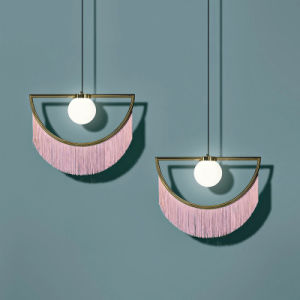 Fancy Modern Decorative Fabric Shade Hanging Lamp Stylish Dreamy Pink Tassel Fringe Half Pendant Lamp for Dining Room
