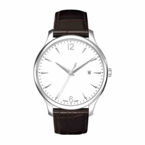 Mens Leather Watch Quartz Movement Ss Case Calf Leather