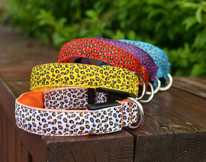 High Quality Leopard Print Glowing Dog Collar with Button Cell Battery