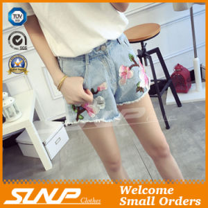 Hot Fashion Women Embroidery Short Denim Jean Shorts Pant
