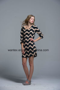 Ladies Dress 100% Polyester Spring Autumn Summer Fashion Stripe pictures & photos