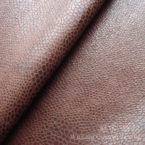 Foil Print Bronzed Suede Leather Fabric 100% Polyester for Sofa pictures & photos