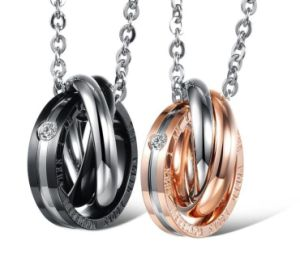 ab7037e1c8 Hot Sale Couple Jewelry Titanium Steel Rose Gold and Black Lovers Necklace  & Pendants Best Lovers