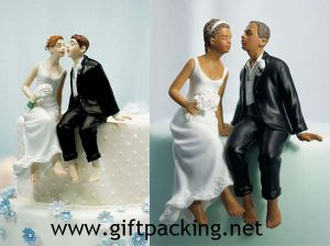 Whimsical Sitting Bride and Groom Wedding Resin Figurine