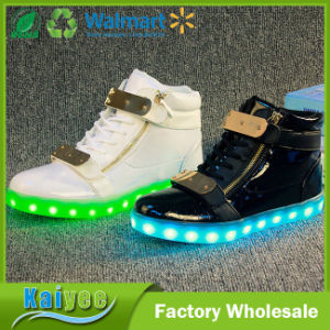 High Iron Zipper Summer Colorful USB LED Flash Charging Shoes pictures & photos
