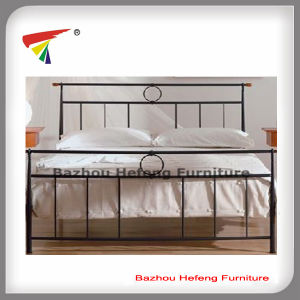 China Simple Design Cheap Metal Double Bed Iron Double Bed Hf036
