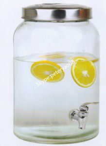 10L Round Shape Glass Beverage Dispenser with Metal Lid pictures & photos