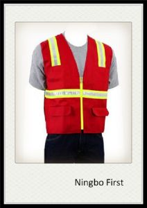 Red Traffic Safety Vest with Crestal Tape (DFV1075) pictures & photos