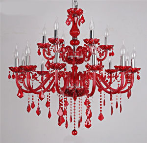 China Red Color Candle Lights Modern Luxury Crystal Chandelier Light ...