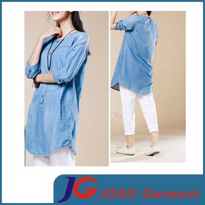 Long Summer Casual Jean Coat Women Clothes (JC4107) pictures & photos