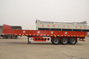 3 Axle Side Wall Flatbed Box Semi Trailer