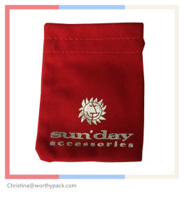 Red Color Micro Fiber/ Velvet Gift Pouch