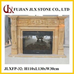 Marble Beautiful Flower Carving Stone Fireplace