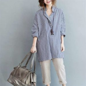 New Fashion Plus Size Women Long Plaid Blouses Shirts pictures & photos