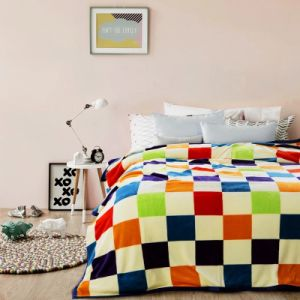 China Factory Colourfule Check design Thickness Flannel Fleece Blanket for Home Bed