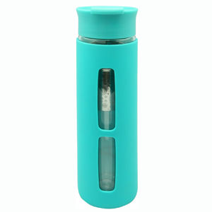 Double Wall Glass Bottle 380ml with Strainer, Silicone Sleeve pictures & photos