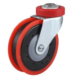 PU Shopping Trolley Caster (One Groove, Red) pictures & photos