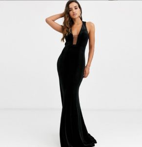 Plunge Fishtail Maxi Prom Party Evening Dress