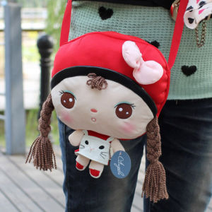 Free Shipping Metoo Plush Toy Angela Girl Doll Shoulder Bag with Cat for Girl/Children Gifts, 6 Animals Optional, 21x27cm 1PC
