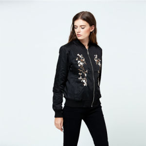 High Quality Winter Autumn Ladies Long Sleeve Zipper Flower Custom Embroidery Bomber Jacket pictures & photos