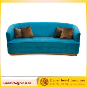 Latest Design Teal 3 Seat Blue Wooden Fram Couch Lounge Sofa pictures & photos