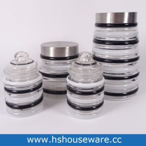 China White And Black Striped Glass Jars Wide Mouth With Airtight