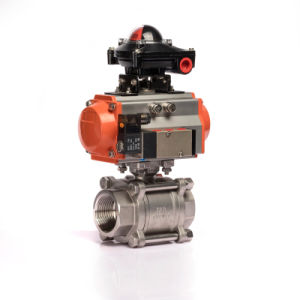 Stainless Steel Material Pneumatic Control 3 PCS Ball Valve pictures & photos