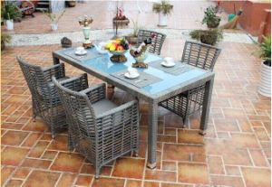 Outdoor Rattan Furniture Garden Modern Foldable Rattan Dining Table Chair