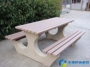 China Plastic Wood And Galvanized Steel Outdoor Set Wood And Stone - Stone picnic table set