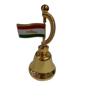 Souvenir Premium Gift Golden Metal Dinner Bell with Flag (F8026)