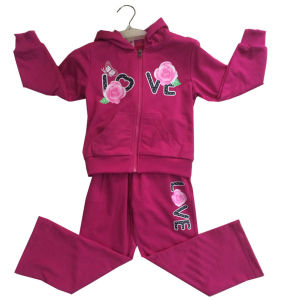 Flower Girl Cardigan Fleece Suit with Hood in Children Clothing Sport Wear (SWG-121)