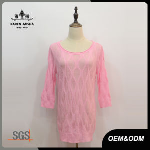 Women Custom Half Sleeve Pink Sweater Dress pictures & photos