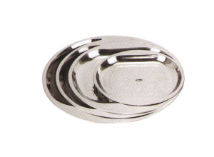 Stainless Steel Kitchenware Oval Tray in Round Design with Decorative Pattern Sp021