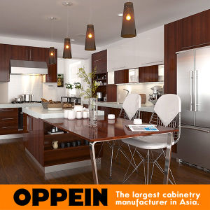 Modern Brown Wood Melamine Modular Kitchen Cabinet with Island (OP15-M08)