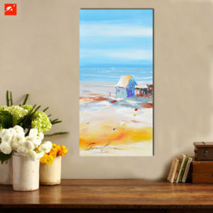 Handmade Cartoon Wall Art Seaside Skyline Oil Painting