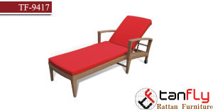 Commercial Rattan Wicker Chaise Lounge with Cushion