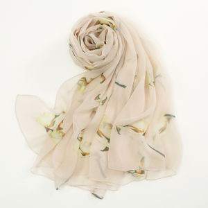 White Silk Scarves The Bird Printing