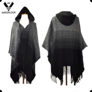 Color Gradual Change Knit Pattern Acrylic Fashion Hooded Shawl