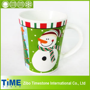 Hot Sale Stoneware V Shape Mug with Decal pictures & photos